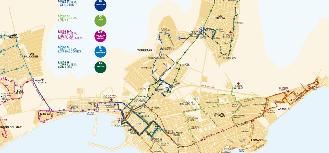 Схема и расписание городских автобусов в Торревьехе 2