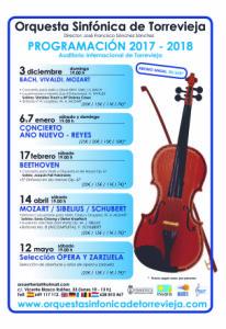 Расписание концертов симфонического оркестра г. Торревьехи на 2018 год