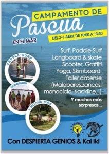 C.D.Surf KAI IKI и DESPIERTA GENIOS  открывают   Пасхальный лагерь со 2 по 6 апреля для детей от 7 до 17 лет.